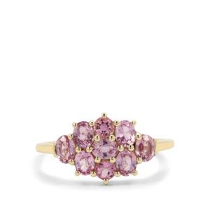 Pink Sapphire & Kaffe Tourmaline 9K Gold Ring ATGW 1.57cts
