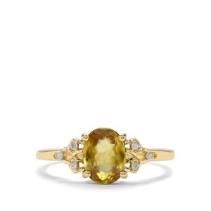 Sambava Sphene & Diamond 9K Gold Ring ATGW 1.33cts