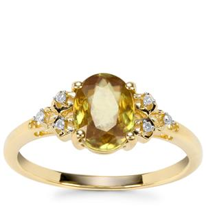 Sambava Sphene Ring with Diamond in 9K Gold 1.33cts