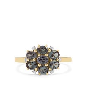Miova Loko Garnet Ring with White Zircon in 9K Gold 1.40cts