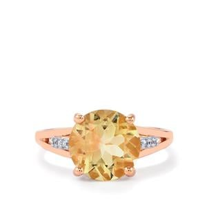 Red Flash Serenite Ring with White Zircon in 10k Rose Gold 3.21cts
