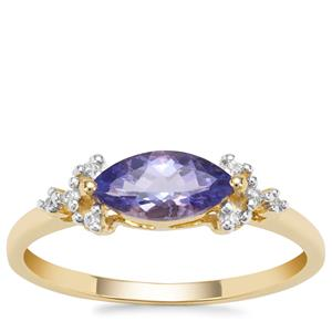 AA Tanzanite Ring with White Zircon in 9K Gold 0.83ct