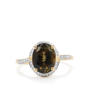 Chrome Tourmaline Ring with Diamond in 18K Gold 3.97cts