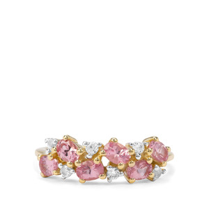Mozambique Pink Spinel & White Zircon 9K Gold Ring ATGW 1.45cts