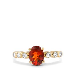 Madeira Citrine & White Zircon 9K Gold Ring ATGW 1.29cts