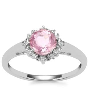 Natural Pink Fluorite Ring with White Topaz in Sterling Silver 1.06cts
