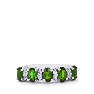 Chrome Diopside Ring with White Topaz in Sterling Silver 1.33cts