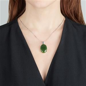 Nephrite Jade Pendant in Sterling Silver 25cts