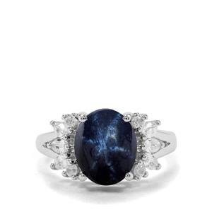 Blue Star Sapphire & White Zircon Sterling Silver Ring ATGW 6.32cts
