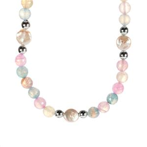 Baroque Cultured Pearl Necklace with Multi-Colour Agate in Sterling Silver
