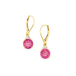 Lehrer QuasarCut Mystic Pink Topaz Earrings with Diamond in 9K Gold 3.70cts