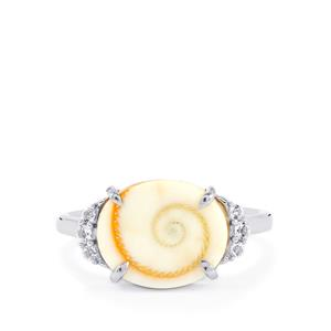 Shiva Eye Shell Ring with White Topaz in Sterling Silver (12x10mm)