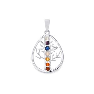 0.95ct Sterling Silver Gemstone Teardrop Tree of Life Pendant