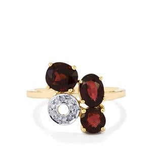 Natural Burmese Spinel Ring with Diamond in 9K Gold 3cts