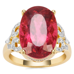 Mawi Rubellite Ring with Diamond in 18K Gold 11cts