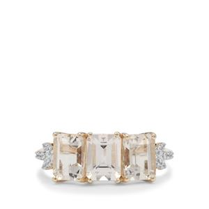 Champagne Danburite Ring with White Zircon in 9K Gold 2.85cts