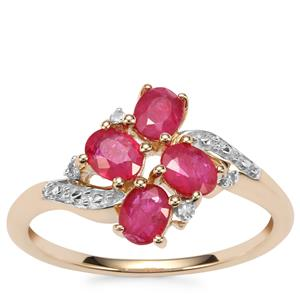 Montepuez Ruby Ring with Diamond in 10K Gold 1.16cts