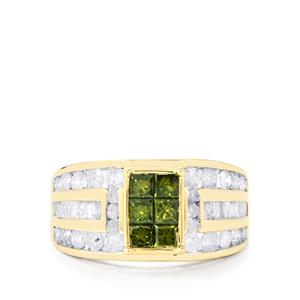 Green Diamond Ring with White Diamond in 10K Gold 1.90ct