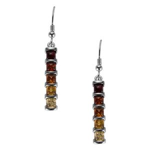Baltic Cognac, Champagne & Cherry Amber Earrings in Sterling Silver (4mm)