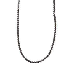 Black Spinel Graduated Bead Necklace in Sterling Silver 34.77cts