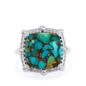 Egyptian Turquoise & White Topaz Sterling Silver Ring ATGW 8.04cts