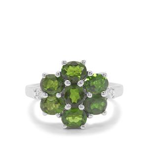 Chrome Diopside & White Zircon Sterling Silver Ring ATGW 2.82cts