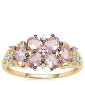 Pink Spinel Ring with White Zircon in 9K Gold 1.17cts