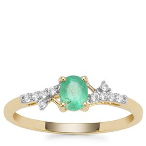 Colombian Emerald Ring with White Zircon in 9K Gold 0.51ct