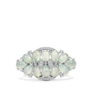 Aquaprase™ & White Zircon Sterling Silver Ring ATGW 4.69cts