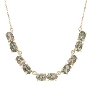 Peacock Parti Oregon Sunstone Necklace in 9K Gold 4.33cts