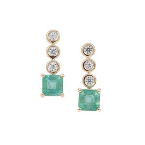 Zambian Emerald Earrings with White Zircon in 9k Gold 1.69cts