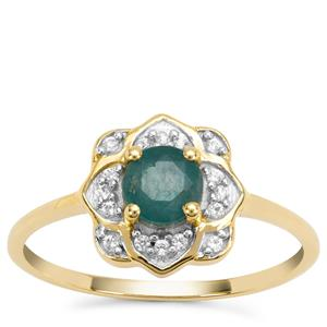 Grandidierite Ring with White Zircon in 9K Gold 0.65ct