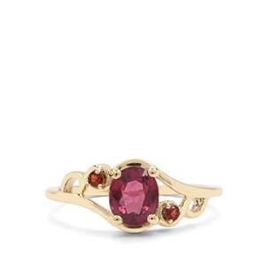 Malawi Garnet Ring with Rajasthan Garnet in 9K Gold 1.31cts