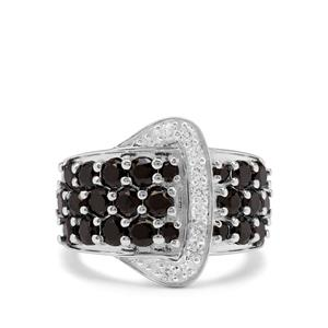 Black Spinel & White Zircon Sterling Silver Ring ATGW 3.27cts