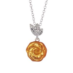 'The Russian Rose' Baltic Cognac Amber Sterling Silver Necklace
