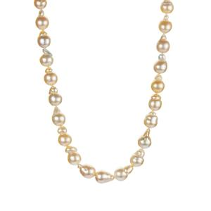 Golden South Sea Cultured Pearl (8.50x9mm) Sterling Silver Necklace.