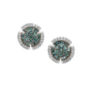 Blue Diamond Earrings with White Diamond in 10K Gold 1ct