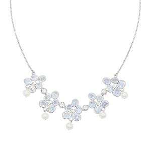 Rainbow Moonstone & Kaori Cultured Pearl Sterling Silver Necklace