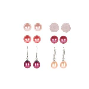 Rose Quartz, Kaori Cultured Pearl, Pink & Red Mother of Pearl Sterling Silver Set of 6 Earrings
