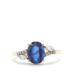 Daha Kyanite Ring with White Zircon in 9K Gold 2.63cts