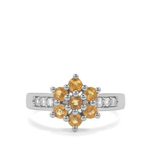 Songea Yellow Sapphire Ring with White Topaz in Sterling Silver 1.29cts