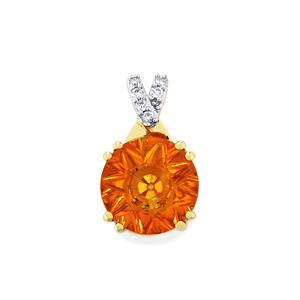 Lehrer QuasarCut Madeira Citrine Pendant with Diamond in 9K Gold 1.96cts