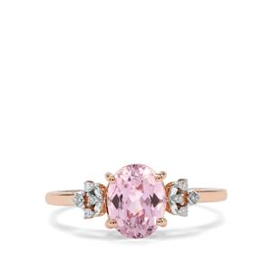 Mawi Kunzite Ring with Diamond in 9K Rose Gold 1.81cts