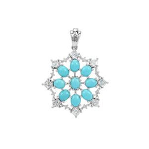 Sleeping Beauty Turquoise, Sky Blue Topaz Pendant White Zircon with in Sterling Silver 3.92cts