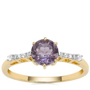 Montezuma Blue Quartz Ring with White Zircon in 9K Gold 0.86ct