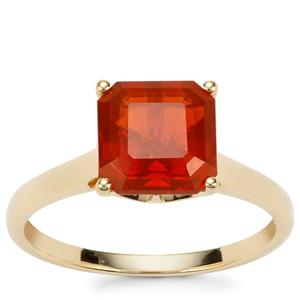 Asscher Cut American Fire Opal Ring in 9K Gold 1.86cts