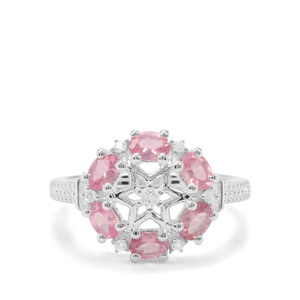 Mozambique Pink Spinel & White Zircon Sterling Silver Ring ATGW 1.20cts