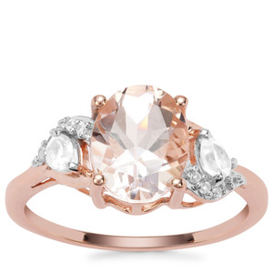 Rose Danburite Ring with White Zircon in 9K Rose Gold 3.08cts