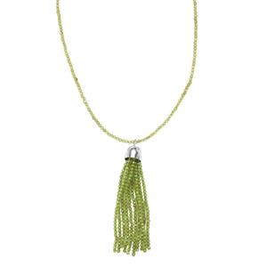 Changbai Peridot Bead Necklace in Sterling Silver 30cts