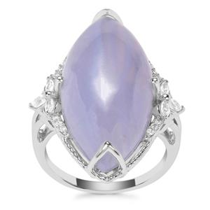 Blue Lace Agate Ring with White Zircon in Sterling Silver 16.18cts